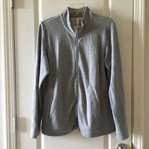 Pure Jill French Terry Cotton zip up sweatshirt L